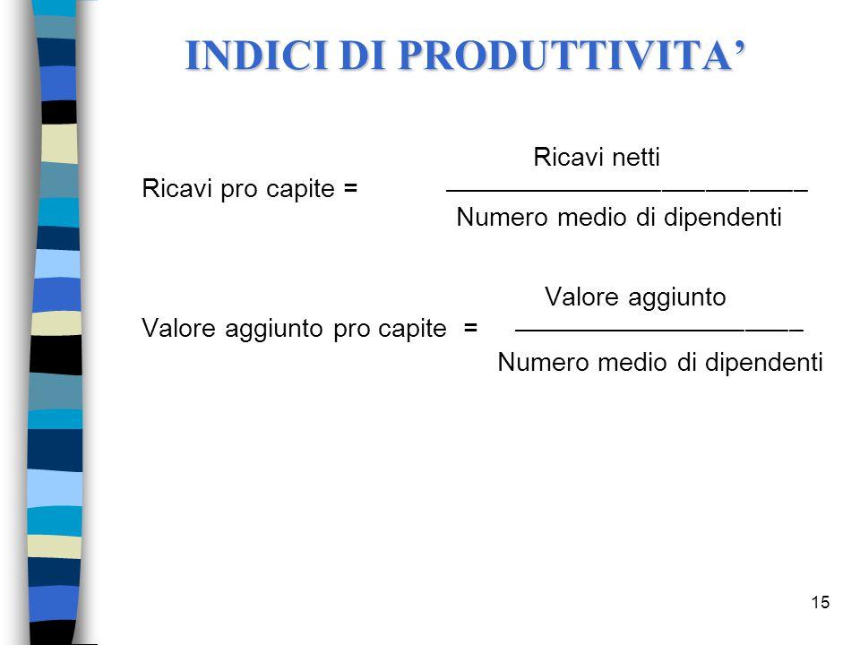 INDICI DI PRODUTTIVITA'