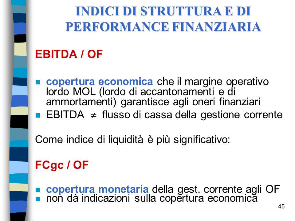 INDICI DI STRUTTURA E DI PERFORMANCE FINANZIARIA