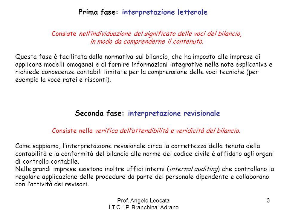 Prima fase: interpretazione letterale