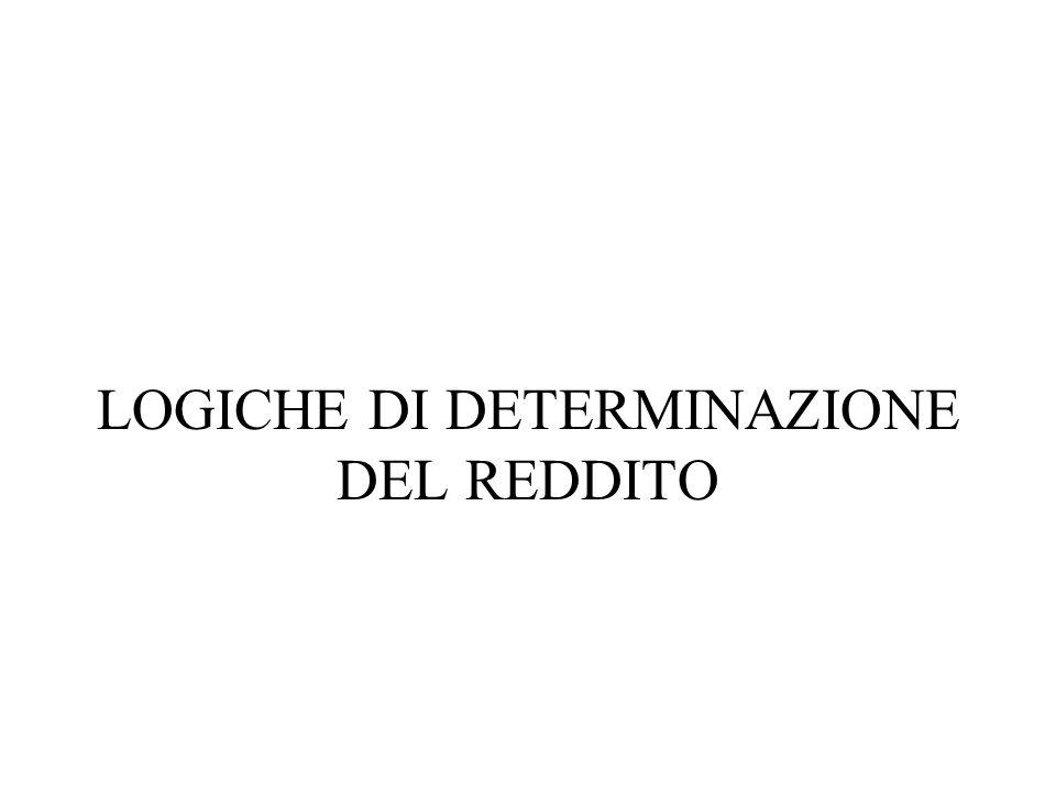LOGICHE DI DETERMINAZIONE DEL REDDITO