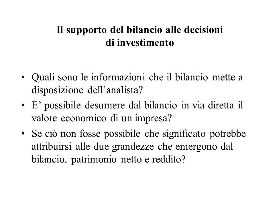 Il supporto del bilancio alle decisioni di investimento