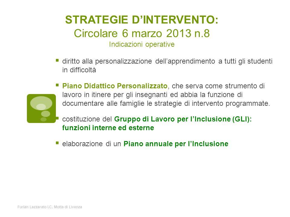 STRATEGIE D'INTERVENTO: Circolare 6 marzo 2013 n
