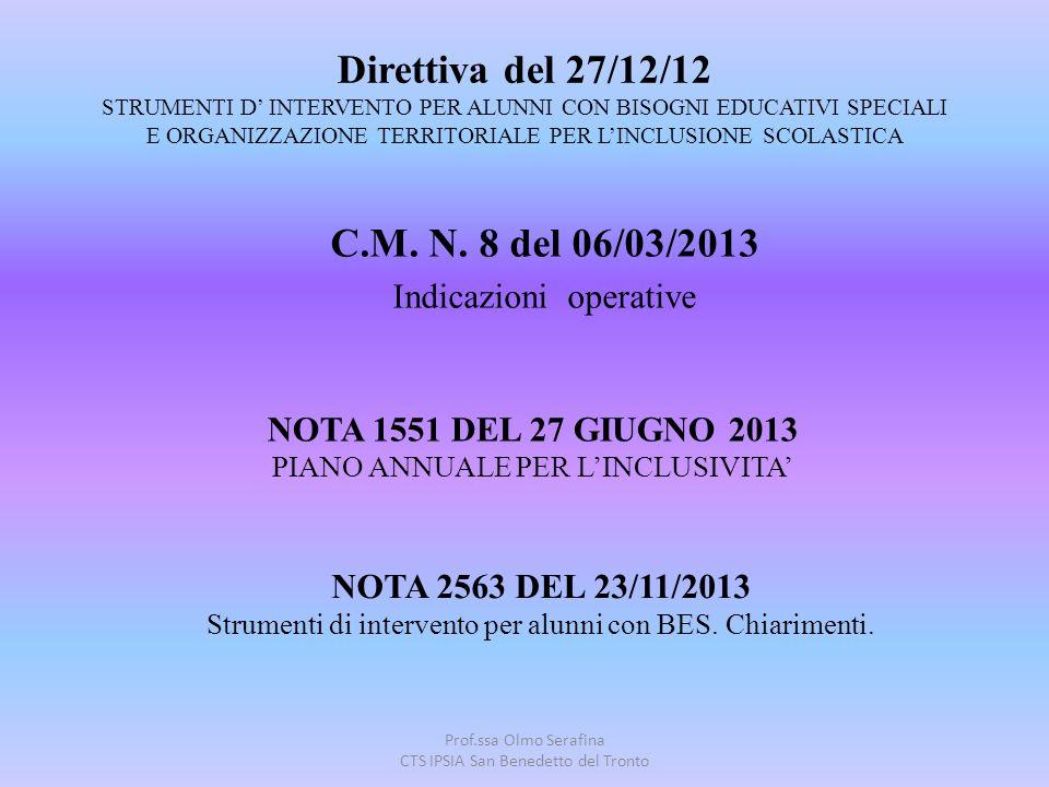C.M. N. 8 del 06/03/2013 Indicazioni operative