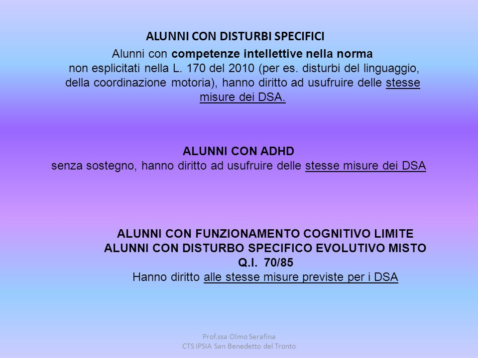 ALUNNI CON DISTURBI SPECIFICI