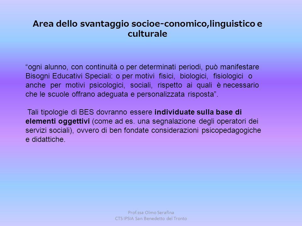 Area dello svantaggio socioe-conomico,linguistico e culturale