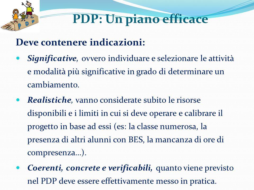 PDP: Un piano efficace Deve contenere indicazioni: