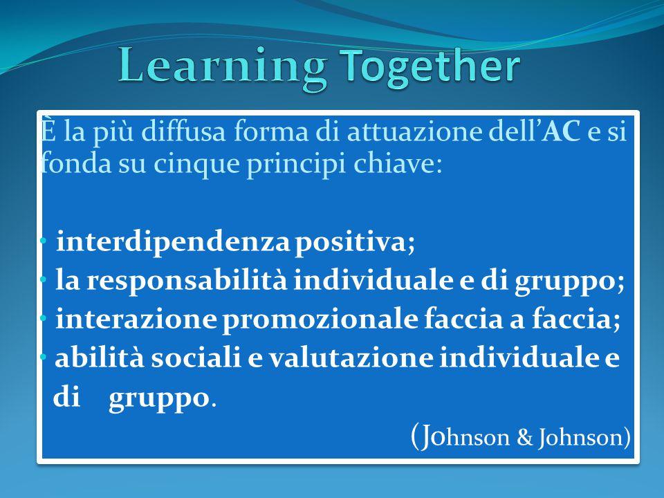 Learning Together È la più diffusa forma di attuazione dell'AC e si fonda su cinque principi chiave: