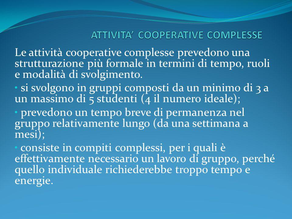 ATTIVITA' COOPERATIVE COMPLESSE