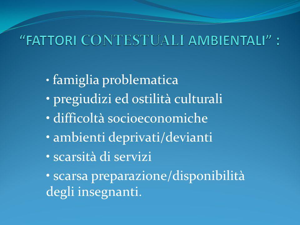 FATTORI CONTESTUALI AMBIENTALI :
