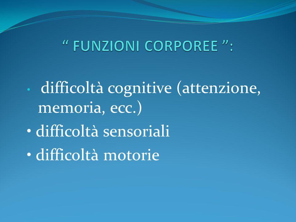 • difficoltà sensoriali • difficoltà motorie