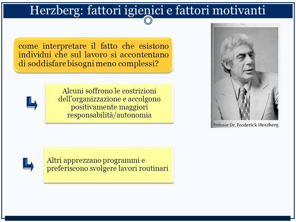 Herzberg: fattori igienici e fattori motivanti