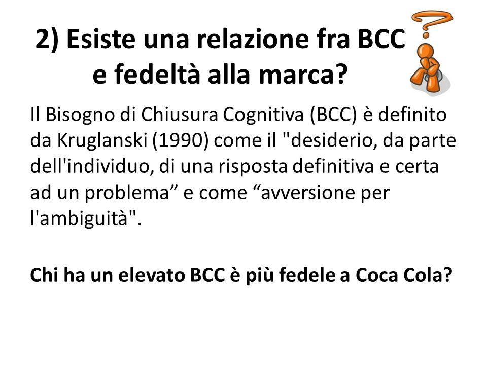 2) Esiste una relazione fra BCC e fedeltà alla marca