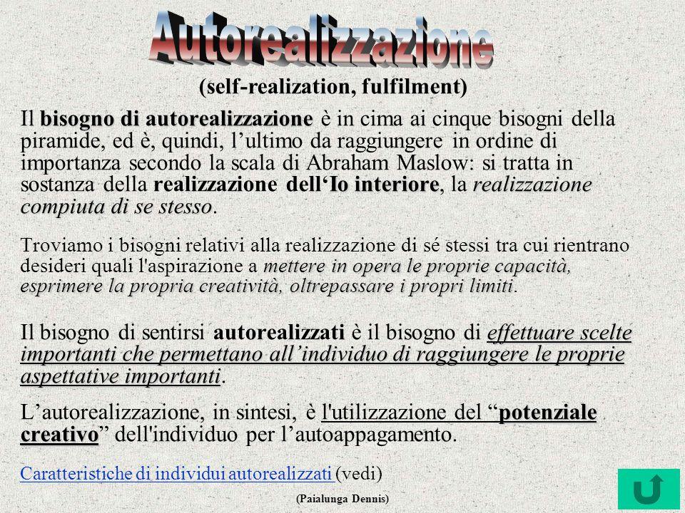 Autorealizzazione (self-realization, fulfilment)