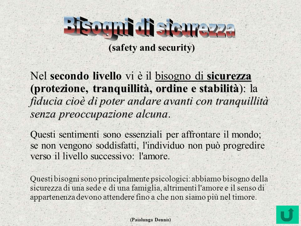Bisogni di sicurezza (safety and security)