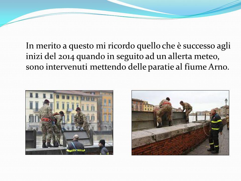 In merito a questo mi ricordo quello che è successo agli inizi del 2014 quando in seguito ad un allerta meteo, sono intervenuti mettendo delle paratie al fiume Arno.