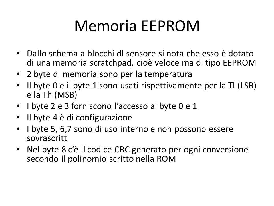 Memoria EEPROM Dallo schema a blocchi dl sensore si nota che esso è dotato di una memoria scratchpad, cioè veloce ma di tipo EEPROM.