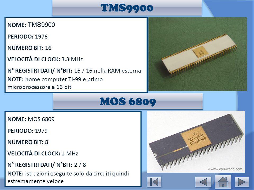 TMS9900 MOS 6809 NOME: TMS9900 PERIODO: 1976 NUMERO BIT: 16