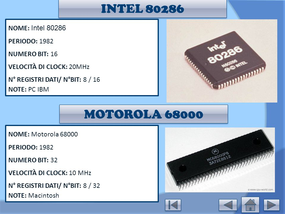 INTEL 80286 MOTOROLA 68000 NOME: Intel 80286 PERIODO: 1982