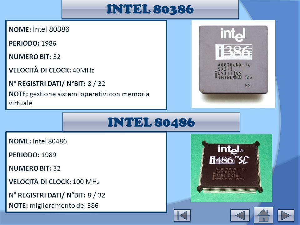 INTEL 80386 INTEL 80486 NOME: Intel 80386 PERIODO: 1986 NUMERO BIT: 32