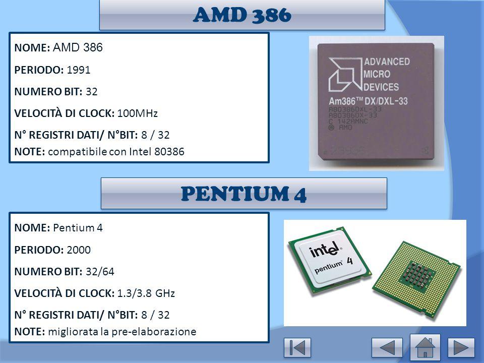 AMD 386 PENTIUM 4 NOME: AMD 386 PERIODO: 1991 NUMERO BIT: 32
