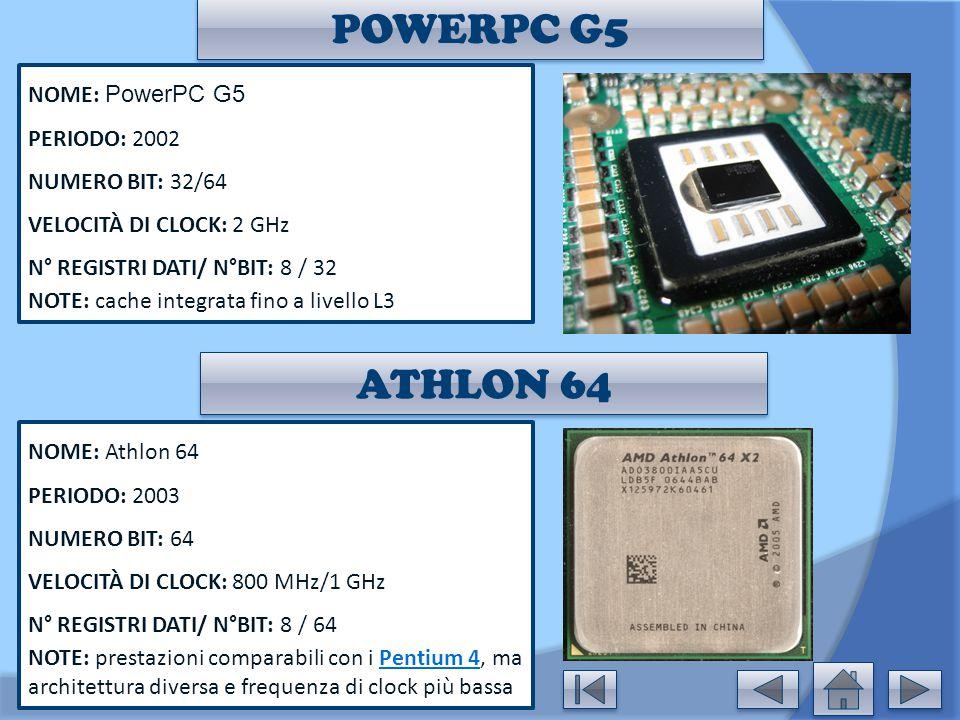 POWERPC G5 ATHLON 64 NOME: PowerPC G5 PERIODO: 2002 NUMERO BIT: 32/64
