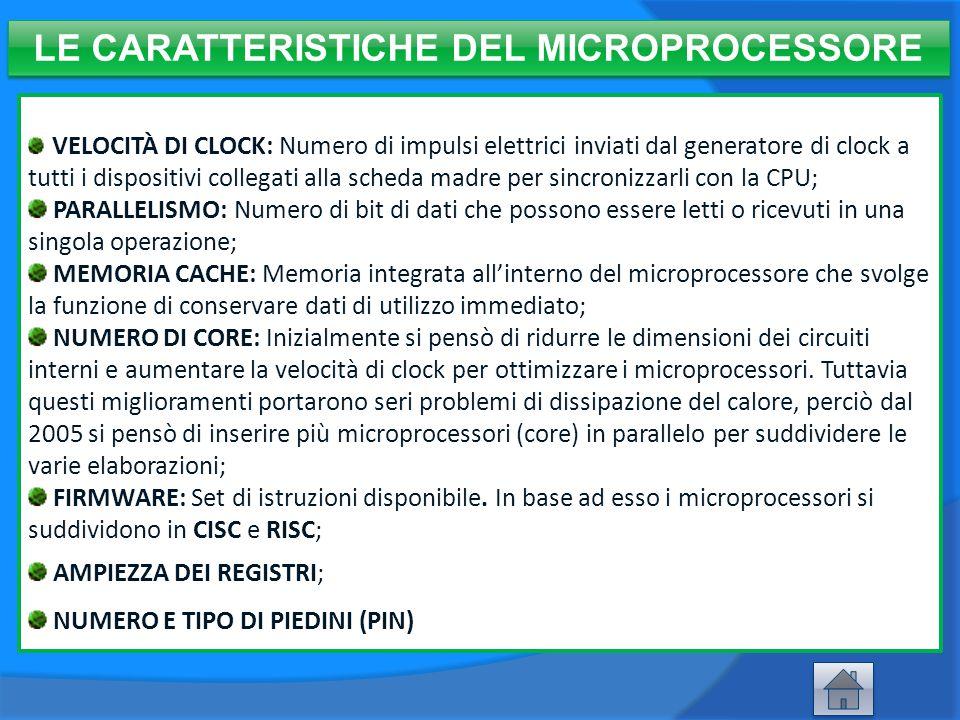 LE CARATTERISTICHE DEL MICROPROCESSORE