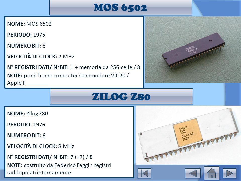 MOS 6502 ZILOG Z80 NOME: MOS 6502 PERIODO: 1975 NUMERO BIT: 8