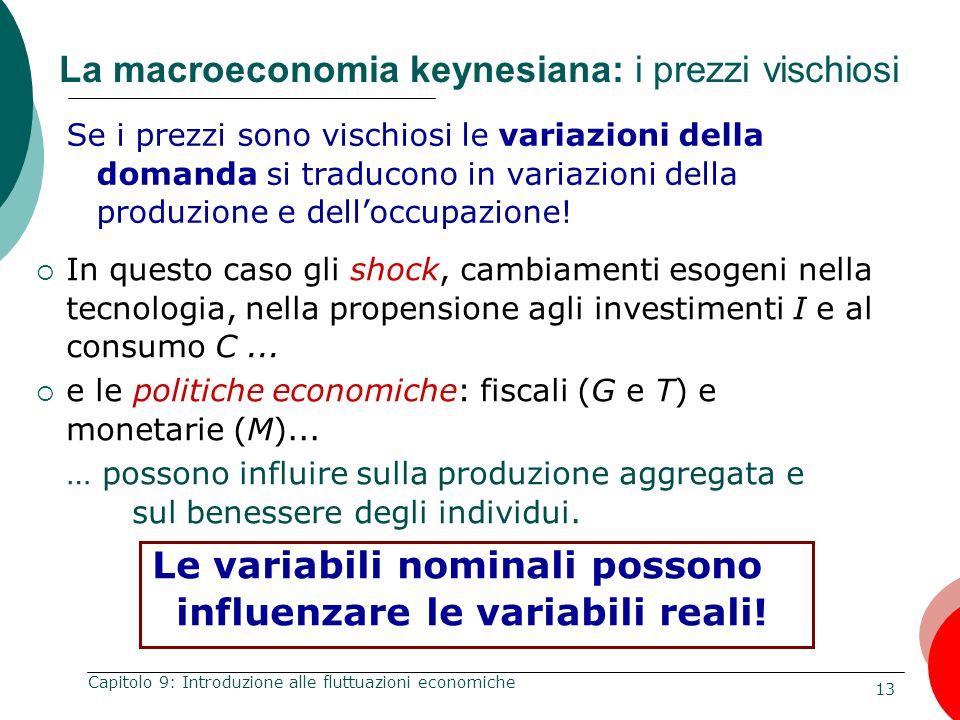 La macroeconomia keynesiana: i prezzi vischiosi