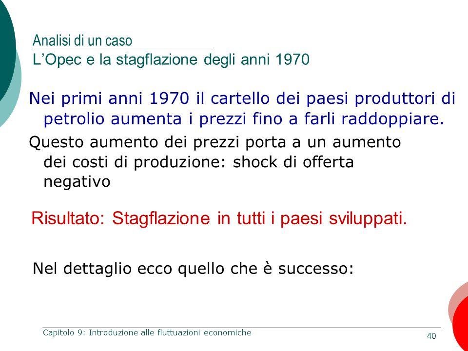 Analisi di un caso L'Opec e la stagflazione degli anni 1970