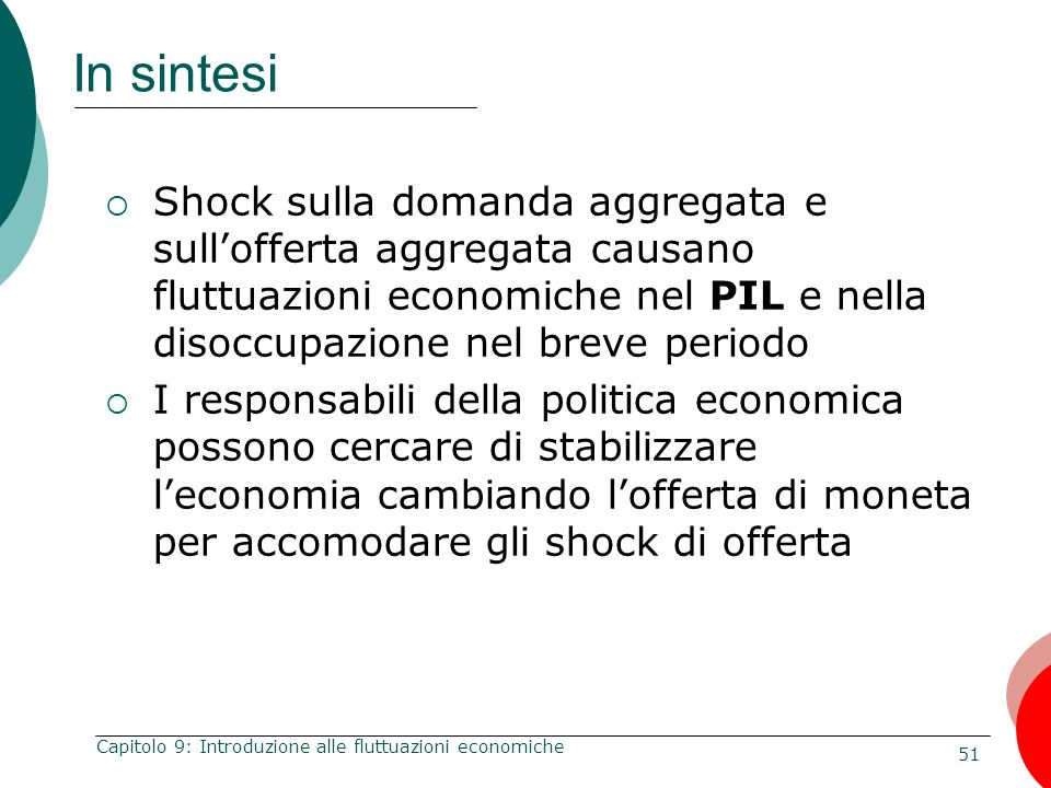 In sintesi Shock sulla domanda aggregata e sull'offerta aggregata causano fluttuazioni economiche nel PIL e nella disoccupazione nel breve periodo.
