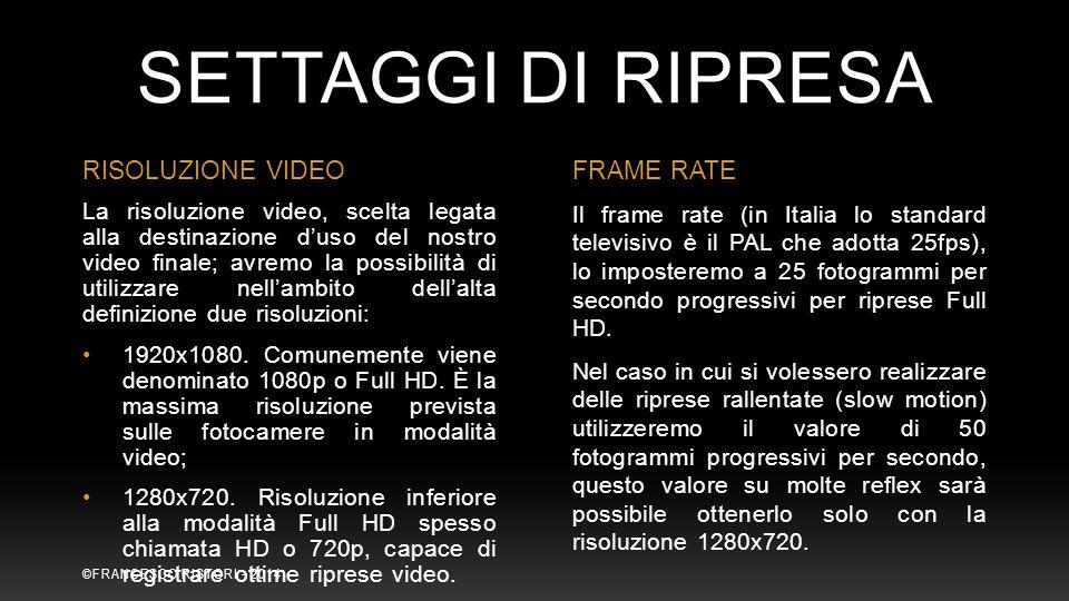 SETTAGGI DI RIPRESA RISOLUZIONE VIDEO FRAME RATE