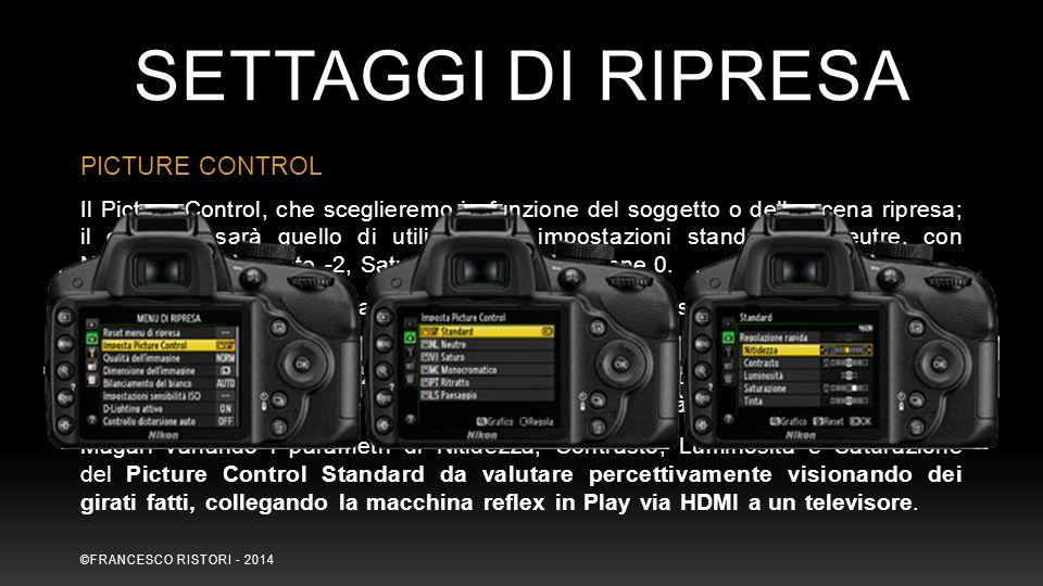 SETTAGGI DI RIPRESA PICTURE CONTROL