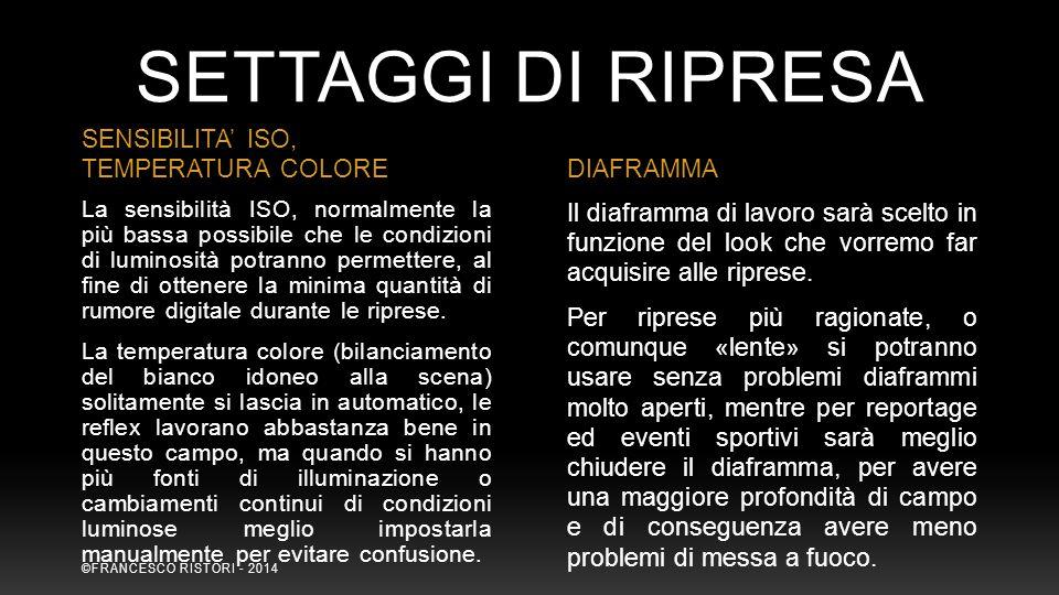 SETTAGGI DI RIPRESA SENSIBILITA' ISO, TEMPERATURA COLORE DIAFRAMMA