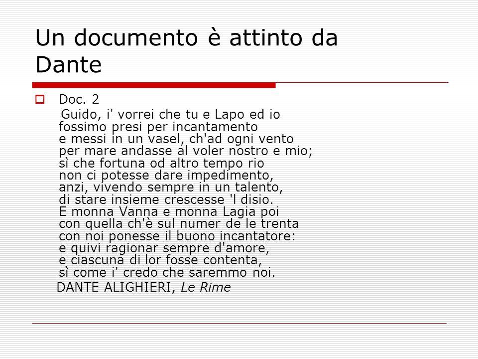 Un documento è attinto da Dante