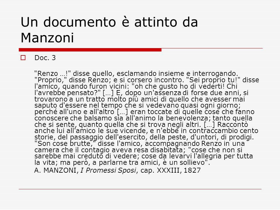 Un documento è attinto da Manzoni