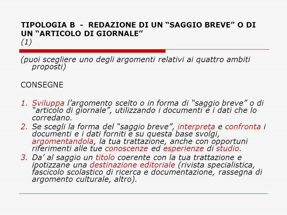 TIPOLOGIA B - REDAZIONE DI UN SAGGIO BREVE O DI UN ARTICOLO DI GIORNALE (1)