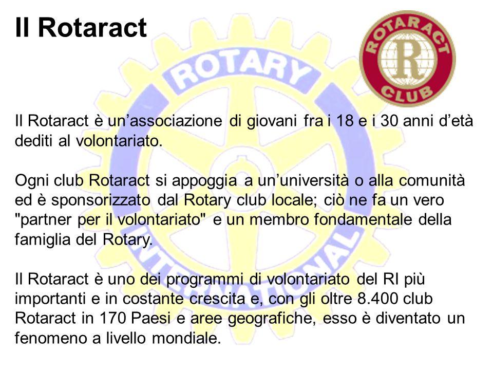 Il Rotaract Il Rotaract è un'associazione di giovani fra i 18 e i 30 anni d'età dediti al volontariato.