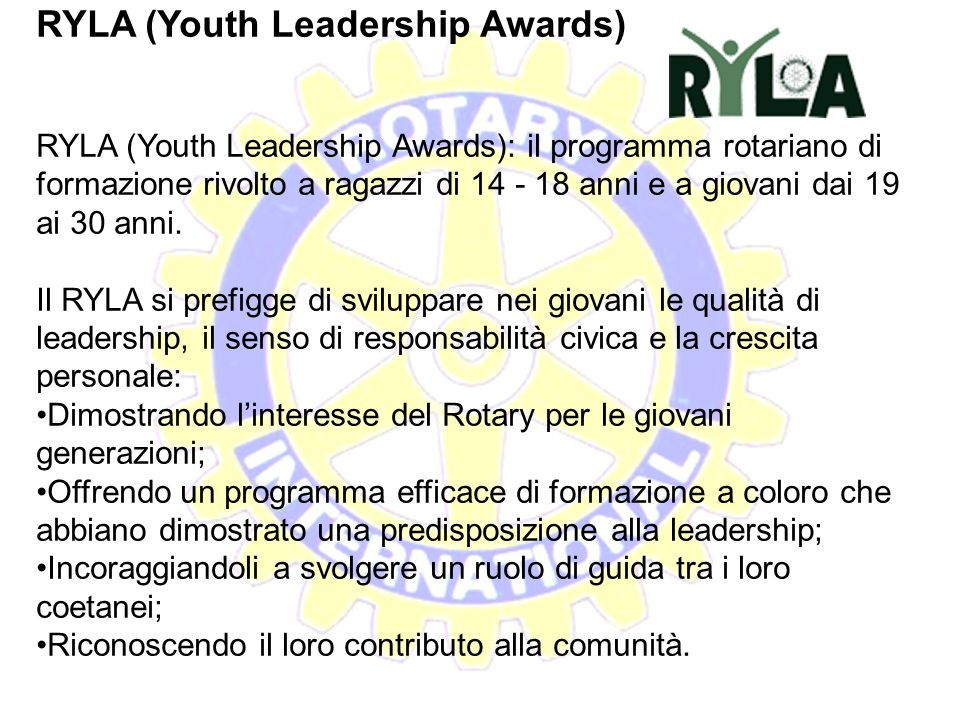 RYLA (Youth Leadership Awards)