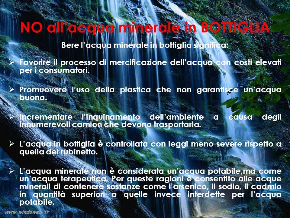 NO all'acqua minerale in BOTTIGLIA