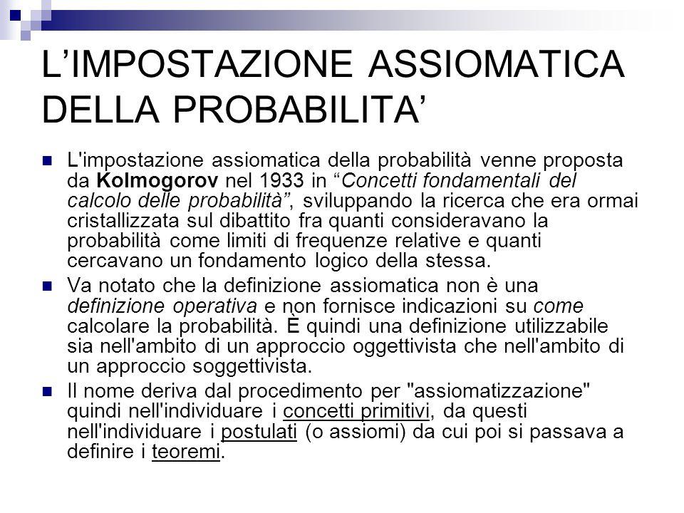 L'IMPOSTAZIONE ASSIOMATICA DELLA PROBABILITA'
