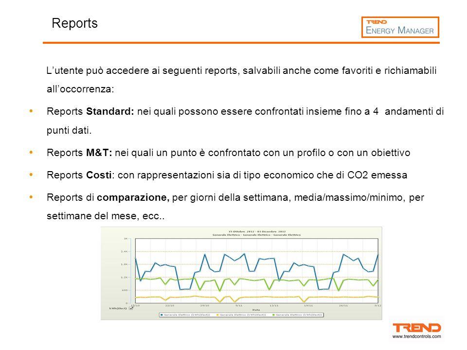 Reports L'utente può accedere ai seguenti reports, salvabili anche come favoriti e richiamabili all'occorrenza: