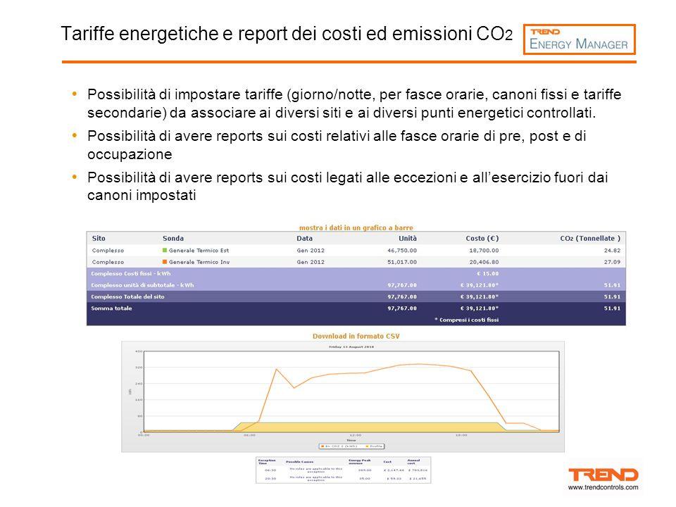 Tariffe energetiche e report dei costi ed emissioni CO2