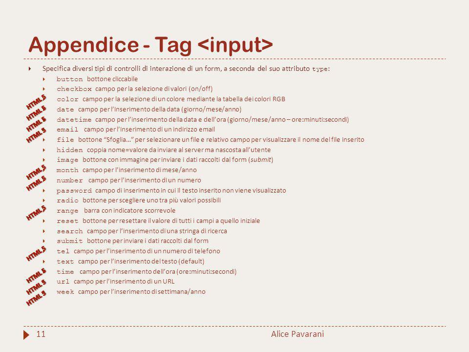 Appendice - Tag <input>