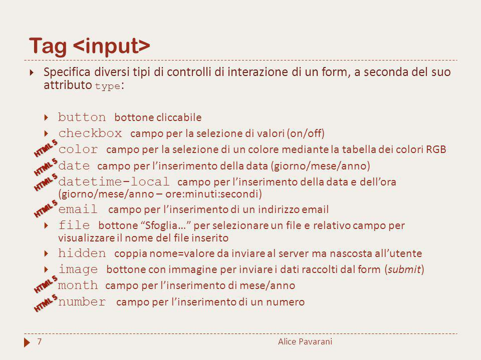 Tag <input> Specifica diversi tipi di controlli di interazione di un form, a seconda del suo attributo type: