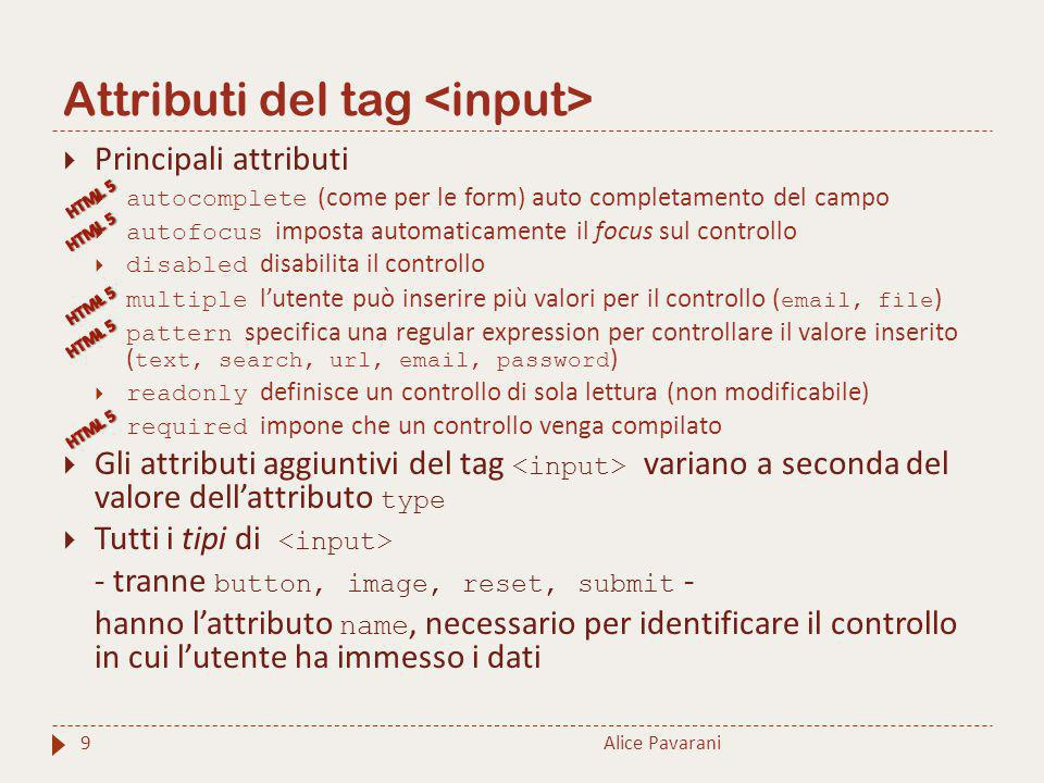 Attributi del tag <input>