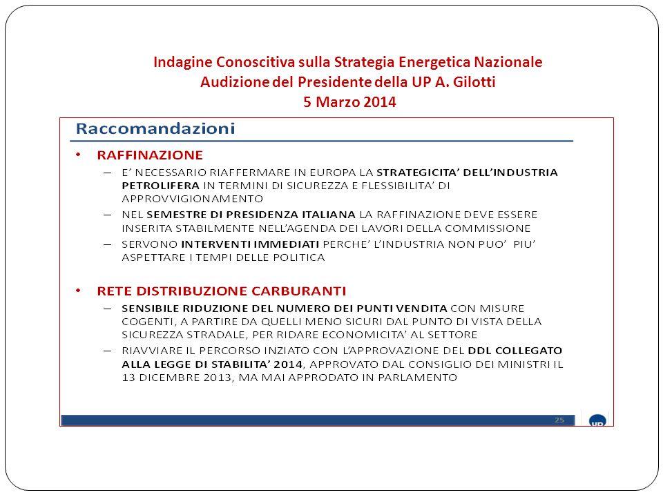 Indagine Conoscitiva sulla Strategia Energetica Nazionale Audizione del Presidente della UP A.