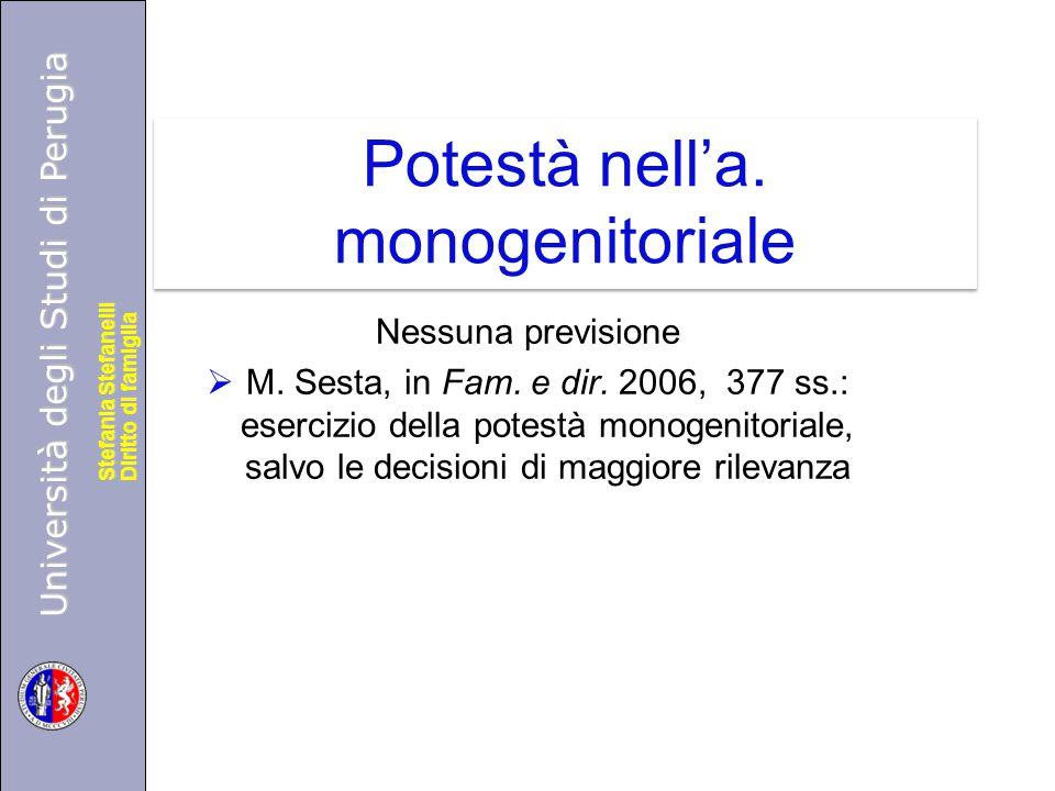 Potestà nell'a. monogenitoriale