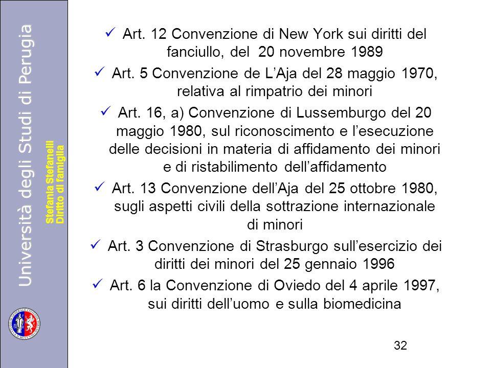 Art. 12 Convenzione di New York sui diritti del fanciullo, del 20 novembre 1989