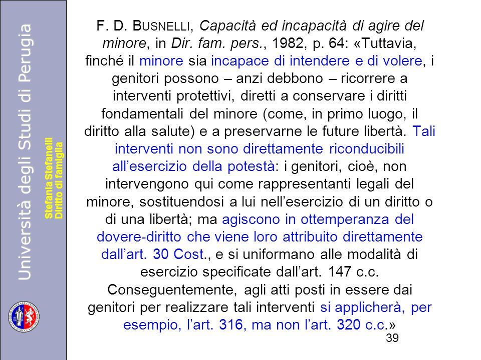F. D. Busnelli, Capacità ed incapacità di agire del minore, in Dir.