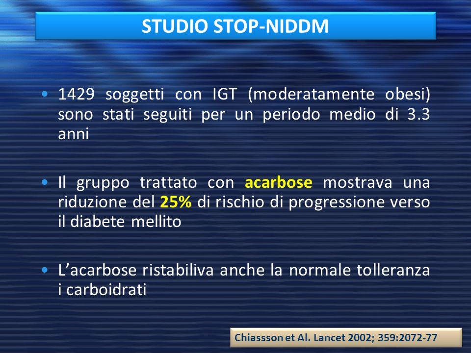 STUDIO STOP-NIDDM 1429 soggetti con IGT (moderatamente obesi) sono stati seguiti per un periodo medio di 3.3 anni.